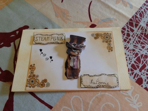 CARTE 3D STEAMPUNK CHAT